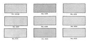 """Two standard patterns of Ben Day stipples. The two top rows are called """"hand stipples,"""" and the regular dots are """"mechanical"""" or """"square dot"""" stipples."""