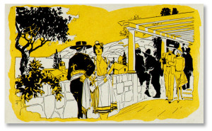 A line art plate painted with yellow gamboge in preparation for adding tint.