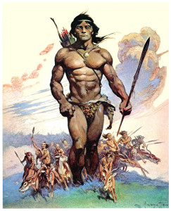"""Tarzan and the Ant Men"" Frank Frazetta, oil over watercolor, 1974"