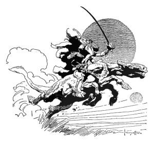 """""""With a savage cry of triumph,…"""" Frontispiece by Frank Frazetta for """"Thuvia, Maid of Mars and The Chessmen of Mars,"""" Nelson Doubleday, Inc., 1972"""
