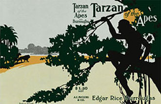 Three color image on a gray backgound of Tarzan sitting in a tree