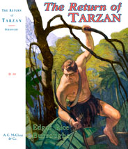 Tarzan climbing through trees with bow and arrow