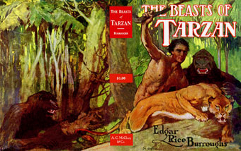 Tarzan with two apes and lioness in the jungle.